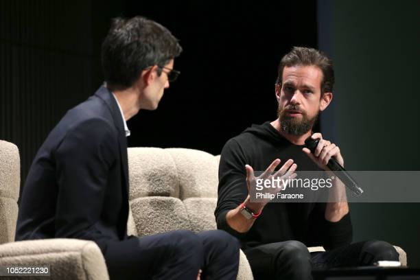 Nicholas Thompson and Jack Dorsey speak onstage at WIRED25 Summit WIRED Celebrates 25th Anniversary With Tech Icons Of The Past Future on October 15...