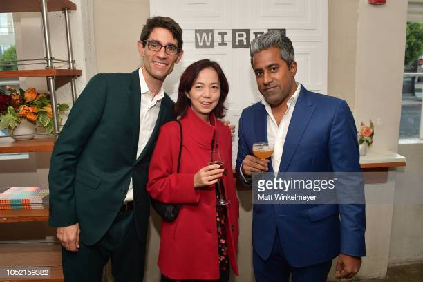 Nicholas Thompson FeiFei Li and Anand Giridharadas attend VIP Dinner For WIRED's 25th Anniversary Hosted By Nicholas Thompson And Anna Wintour at...