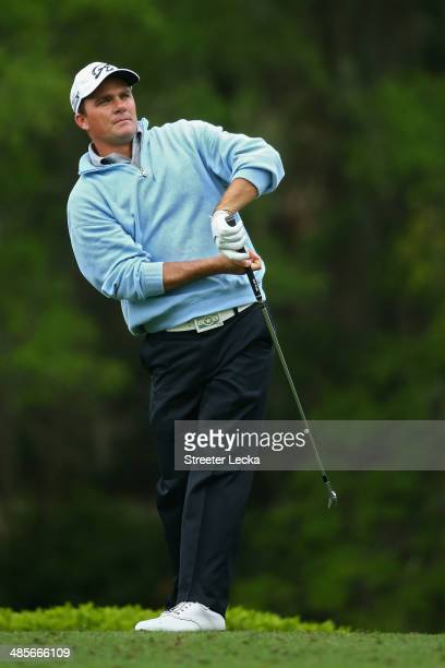 Nicholas Thompson hits a tee shot on the 14th hole during the third round of the RBC Heritage at Harbour Town Golf Links on April 19 2014 in Hilton...