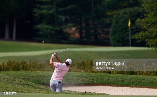 Nicholas Thompson hits his second shot on the ninth hole during the second round of the Chiquita Classic held at The Club at Longview on September 28...