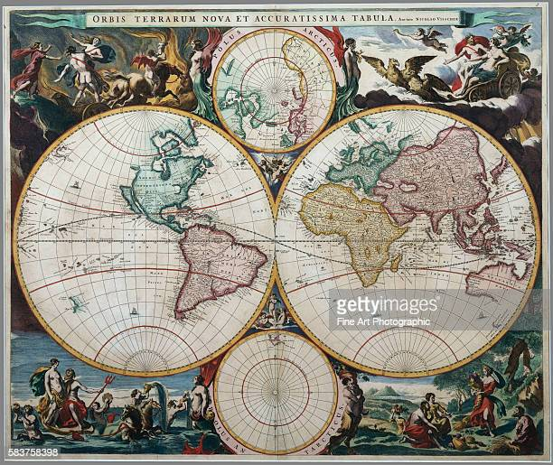 Nicholas Visscher's highly influential seventeenthcentury map The corners of the map are illustrated with classical scenes of the Four Elements