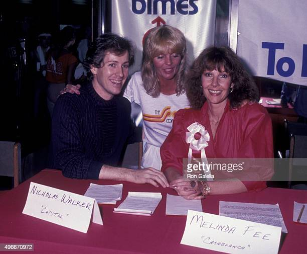 Nicholas Walker Nannette Patte and Melinda Fee attend The Sports Connection Aerobics Benefit for March of Dimes on April 30 1983 in Encino California