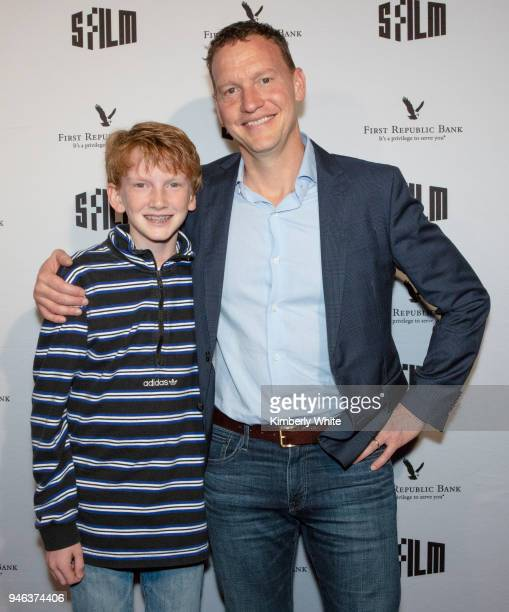 Nicholas Weinstock and his son Lincoln attend the Alex Strangelove red carpet premiere during 2018 SFFILM at Victoria Theatre on April 14 2018 in San...