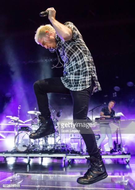 Nicholas William Petricca of Walk The Moon performs at DTE Energy Music Theater on June 12 2018 in Clarkston Michigan
