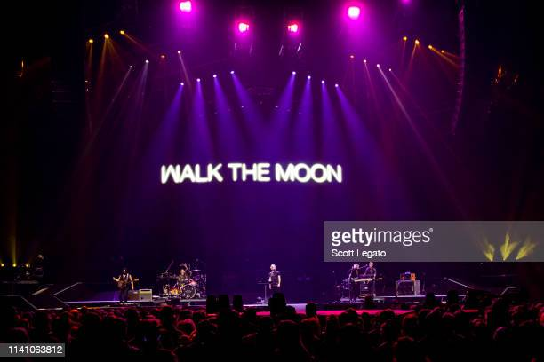 Nicholas William Petricca of Walk the Moon performs at Little Caesars Arena on April 04 2019 in Detroit Michigan