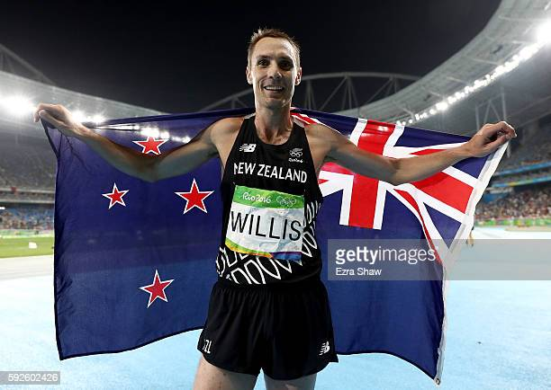 Nicholas Willis of New Zealand celebrates after winning bronze in the Men's 1500 meter Final on Day 15 of the Rio 2016 Olympic Games at the Olympic...