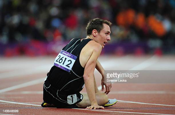 Nicholas Willis of New Zealand reacts after competing in the Men's 1500m Final on Day 11 of the London 2012 Olympic Games at Olympic Stadium on...