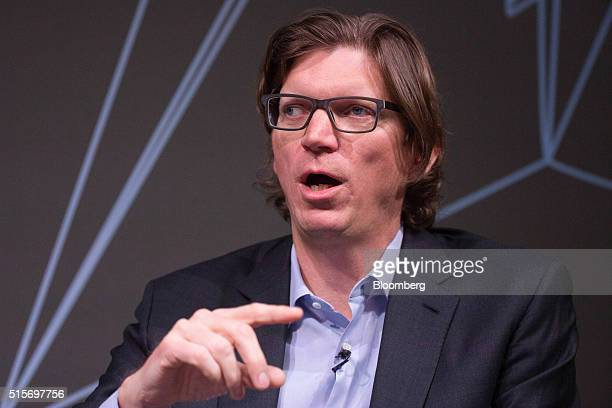 Nicholas Zennstrom chief executive officer and founding partner of Atomico speaks during the Goldman Sachs Disruptive Technology Symposium 2016 in...