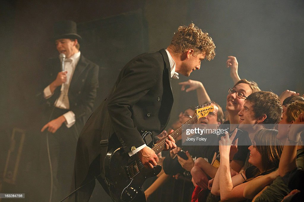 Nicholaus Arson (R) and Pelle Almqvist of The Hives performs onstage in concert at The Vogue on March 4, 2013 in Indianapolis, Indiana.