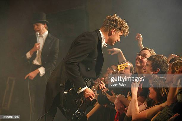 Nicholaus Arson and Pelle Almqvist of The Hives performs onstage in concert at The Vogue on March 4 2013 in Indianapolis Indiana