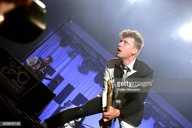 Nicholaus Arson of the band The Hives performs on stage during the first day of Rock Zottegem on July 8 2016 in Zottegem Belgium