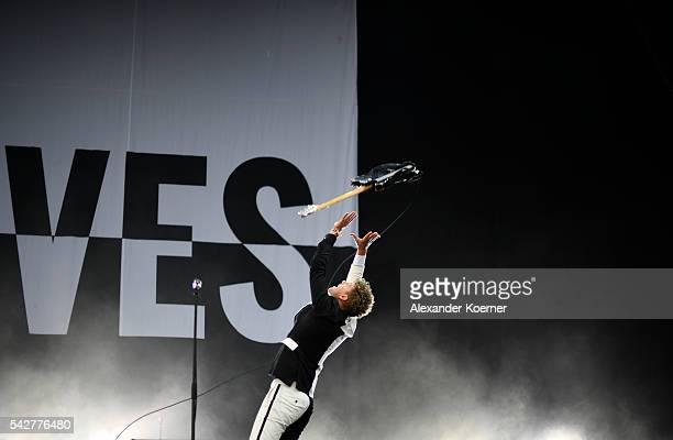 Nicholaus Arson of the The Hives performs on Green Stage during the first day of the Hurricane festival on June 24 2016 in Scheessel Germany
