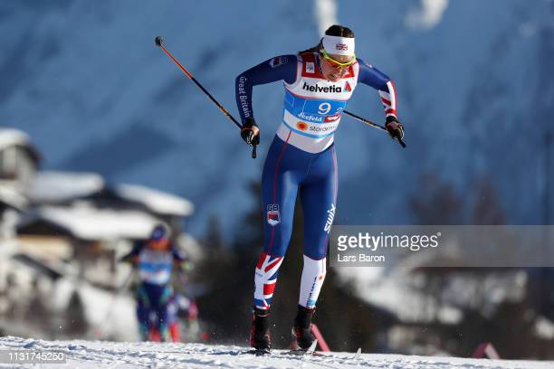 Nichole Bathe of Great Britain competes in the first semifinal run for the Ladies' Cross Country Team Sprint during FIS Nordic World Ski...