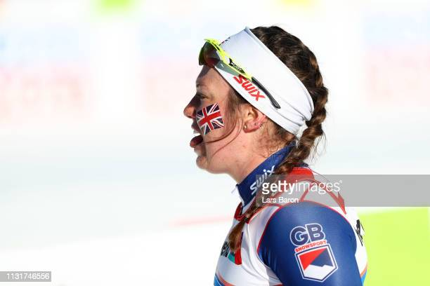 Nichole Bathe of Great Britain reacts after competing in the first semifinal run for the Ladies' Cross Country Team Sprint during FIS Nordic World...