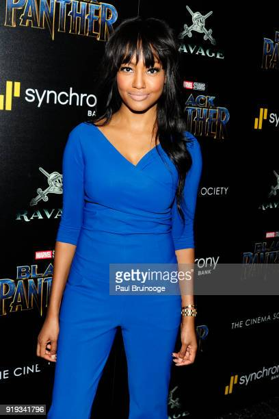 Nichole Galicia attends The Cinema Society with Ravage Wines Synchrony host a screening of Marvel Studios' 'Black Panther' at The Museum of Modern...