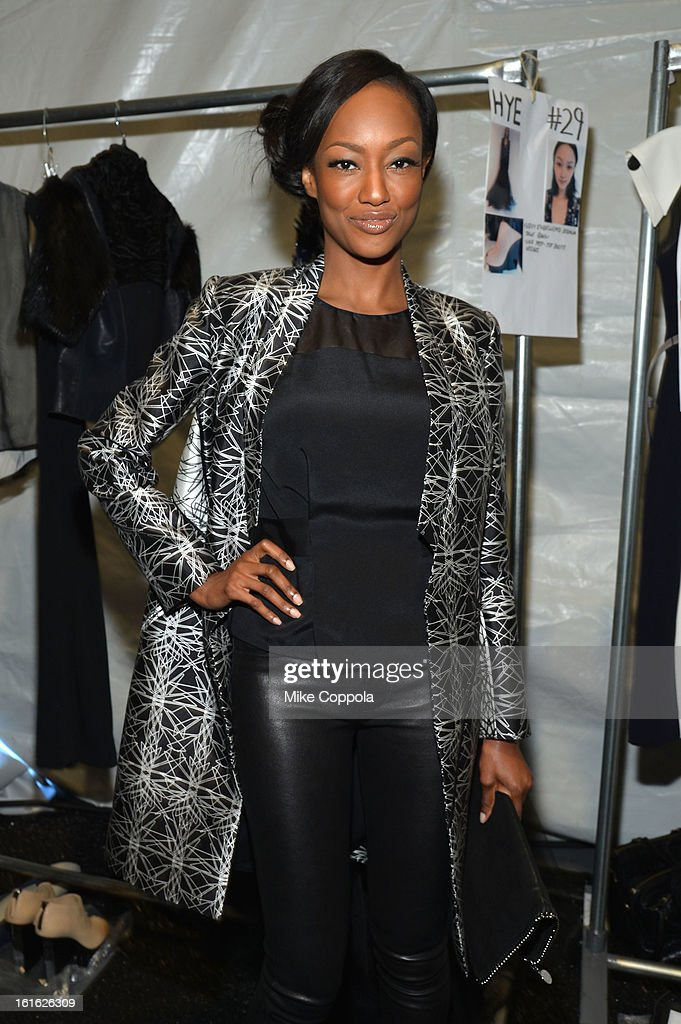 Nichole Galicia poses backstage at the Bibhu Mohapatra Fall 2013 fashion show during Mercedes-Benz Fashion Week at The Studio at Lincoln Center on February 13, 2013 in New York City.