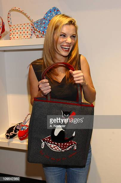 Nichole Hiltz with a Lulu Guinness tote bag during Lucky Magazine and Lulu Guinness Host Holiday Party at the Lulu Guinness Boutique in Los Angeles...