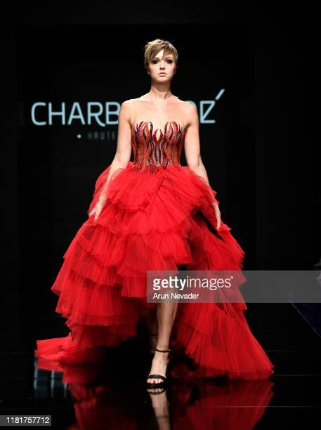 Nichole Kennedy walks the runway wearing Charbel Zoe during Los Angeles Fashion Week SS/20 Powered by Art Hearts Fashion on October 17, 2019 in Los...