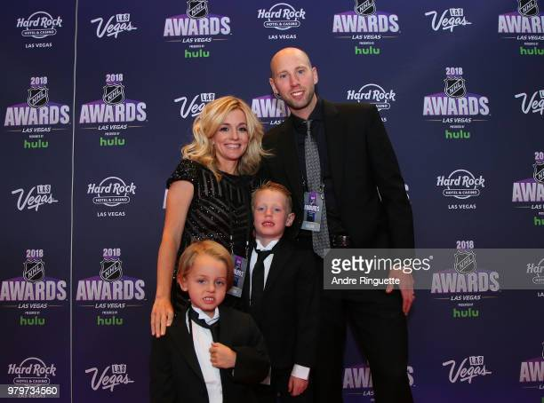 Nicholle Anderson her husband Craig Anderson of the Ottawa Senators and their sons Levi Anderson and Jake Anderson arrive at the the Hard Rock Hotel...