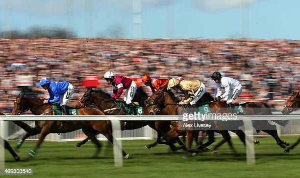 Nichols Canyon ridden by Ruby Walsh in action during their victory in The World Famous Just Eat Mersey Novices' Hurdle Race during the 2015 Crabbie's...