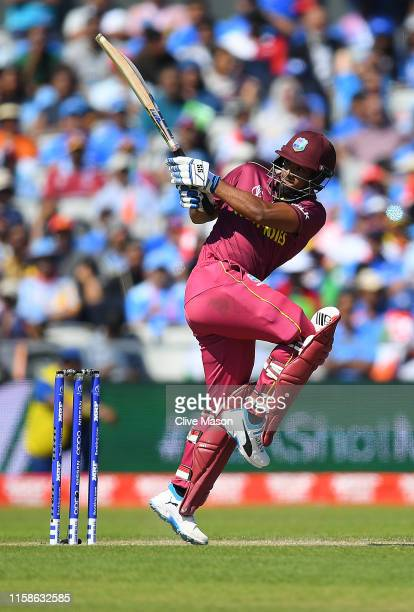 Nichols Pooran of West Indies in action batting during the Group Stage match of the ICC Cricket World Cup 2019 between West Indies and India at Old...