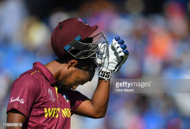 Nichols Pooran of West Indies walks off after being dismissed by Kuldeep Yadav of India during the Group Stage match of the ICC Cricket World Cup...