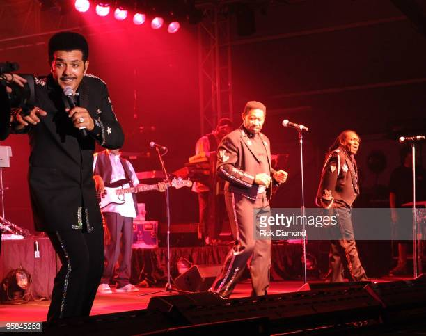 Nichols William King and Walter Orange of The Commodores perform during the Country Crossing Grand Opening KickOff Celebration at Country Crossing on...