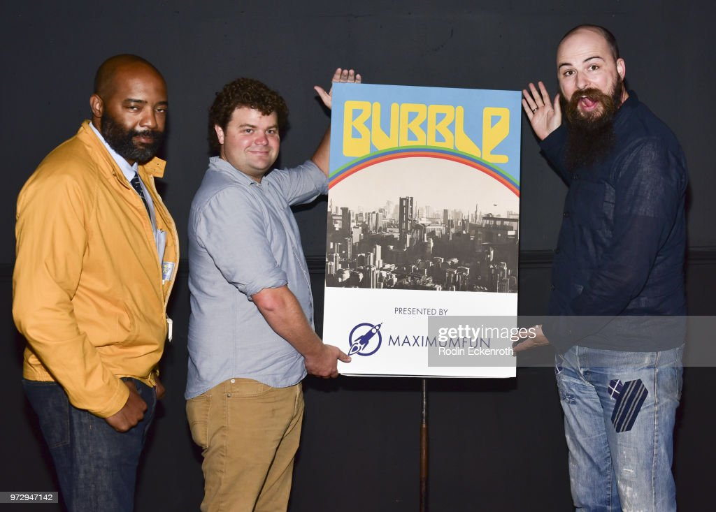 Nick Adams, Jordan Morris, and Jesse Thorn pose for portrait at the MaximumFun.org Comedy Podcast photo call at Dynasty Typewriter at the Hayworth on June 12, 2018 in Los Angeles, California.