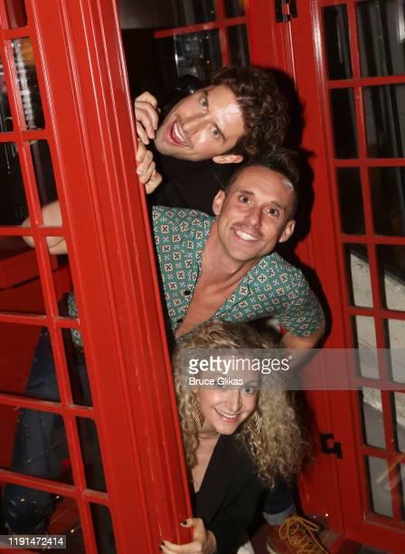 Nick Adams Nick Cearley and Lauren Molina pose at the opening night after party for Harry Potter and The Cursed Child Parts One 2 at August Hall on...