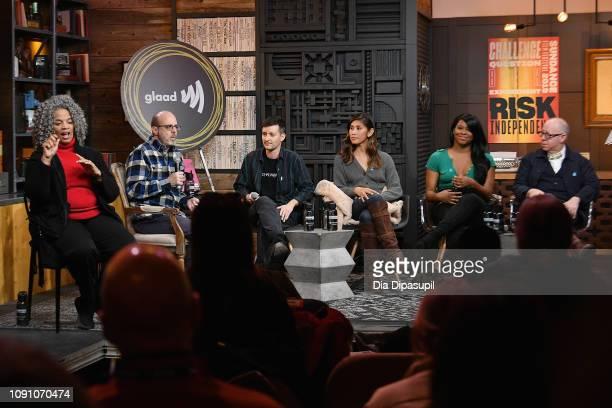 Nick Adams Rhys Ernst Rain Valdez Alexandra Grey and James Schamus onstage at the GLAAD Hosts Beyond The Transition Narrative Transgender...