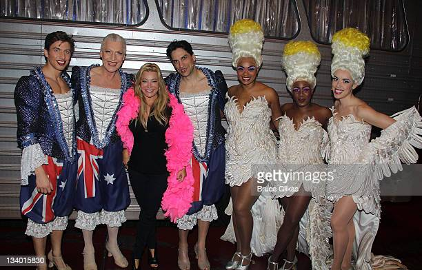 Nick Adams, Tony Sheldon, Taylor Dayne, Will Swenson, Jacqueline B. Arnold, Anastacia McCleskey and Esther Stillwel pose backstage at the musical...
