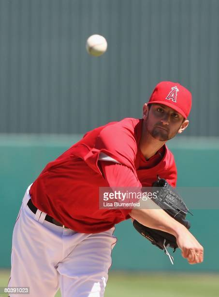 Nick Adenhart of the Los Angeles Angels of Anaheim pitches during a Spring Training game against the Arizona Diamondbacks at Tempe Diablo Stadium on...