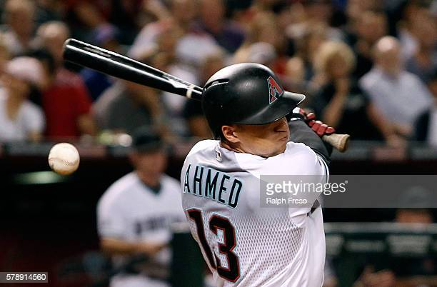 Nick Ahmed of the Arizona Diamondbacks swings at a pitch against the Toronto Blue Jays during the second inning of a MLB interleague game at Chase...