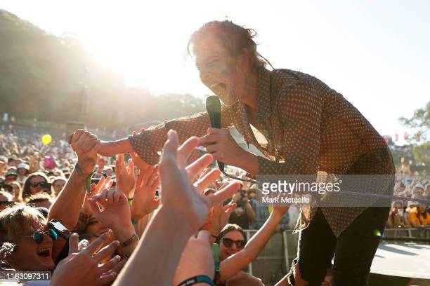 Nick Allbrook of Pond performs on the Amphitheatre stage during Splendour In The Grass 2019 on July 20, 2019 in Byron Bay, Australia.