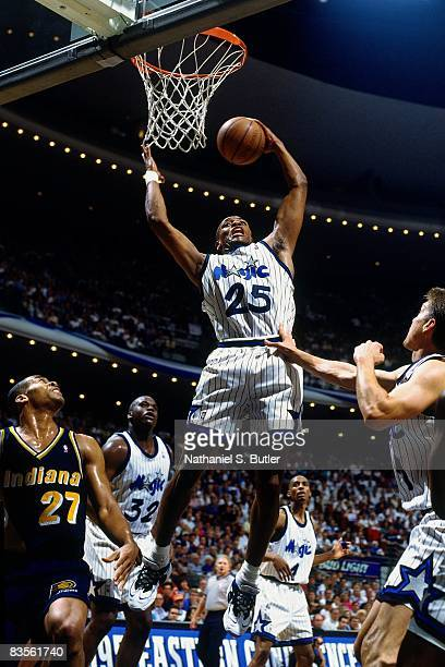 Nick Anderson of the Orlando Magic rebounds in Game Seven of the 1995 NBA Eastern Conference Finals against the Indiana Pacers on June 4 1995 at the...