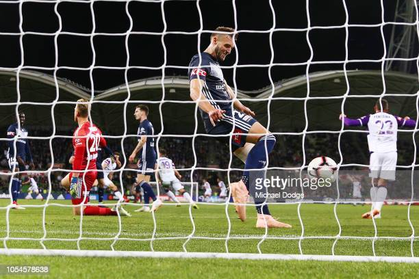 Nick Ansell of the Victory reacts after conceding a goal in the dying stages during the round two ALeague match between the Melbourne Victory and the...