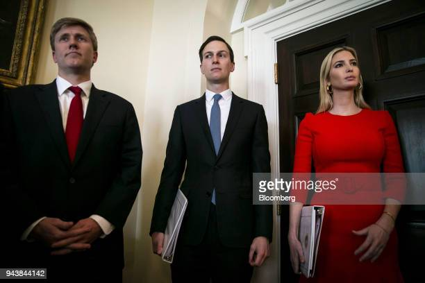 Nick Ayers chief of staff to Vice PresidentMike Pence from left Jared Kushner senior White House adviser and Ivanka Trump assistant to US President...
