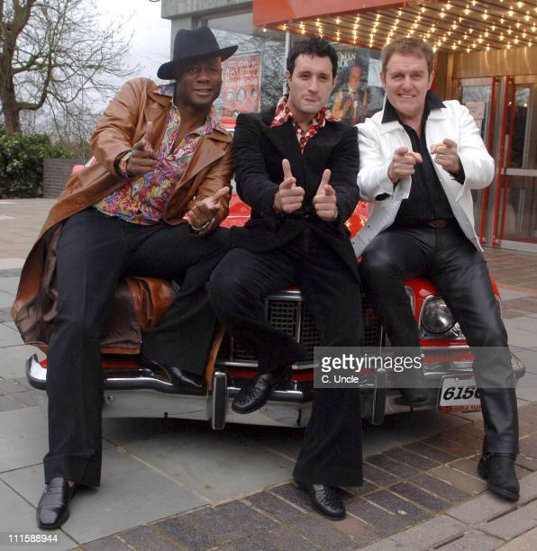 Nick Bailey Anthony Costa and Alvin Stardust during Boogie Nights 10th Anniversary Tour Photocall in London Great Britain