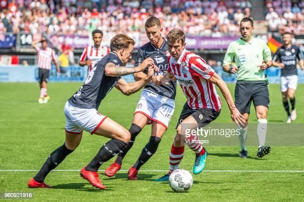 Nick Bakker of FC Emmen glenn bijl Robert Muhren of Sparta Rotterdam during the Dutch Jupiler League playoffs final match between Sparta Rotterdam...