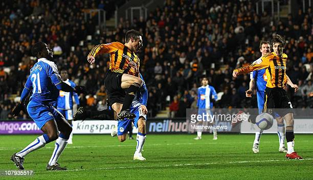Nick Barmby of Hull scores a goal during the FA Cup sponsored by Eon 3rd Round match between Hull City and Wigan Athletic at the KC Stadium on...