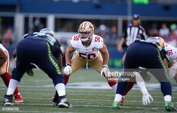 Nick Bellore of the San Francisco 49ers defends during the game against the Seattle Seahawks at CenturyLink Field on September 25, 2016 in Seattle,...