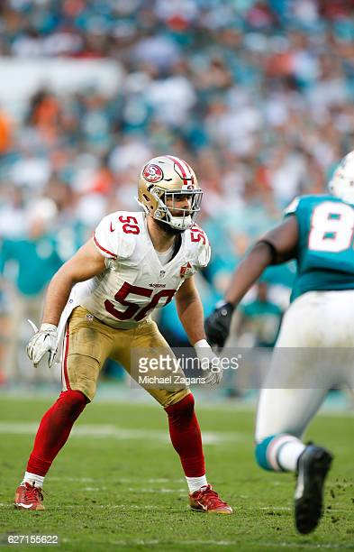 Nick Bellore of the San Francisco 49ers defends during the game against the Miami Dolphins at Hard Rock Stadium on November 27, 2016 in Miami...