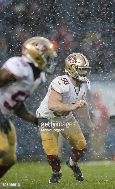 Nick Bellore of the San Francisco 49ers defends during the game against the Chicago Bears at Soldier Field on December 4, 2016 in Chicago, Illinois....