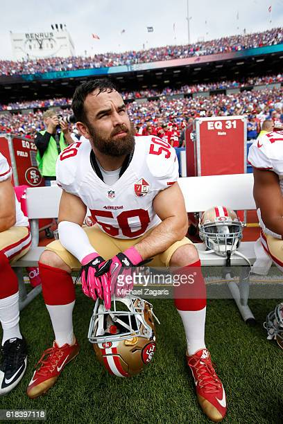 Nick Bellore of the San Francisco 49ers sits on the bench prior to during the game against the Buffalo Bills at New Era Field on October 16, 2016 in...