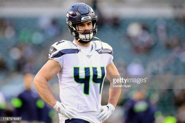 Nick Bellore of the Seattle Seahawks warms up prior to the NFC Wild Card Playoff game against the Philadelphia Eagles at Lincoln Financial Field on...
