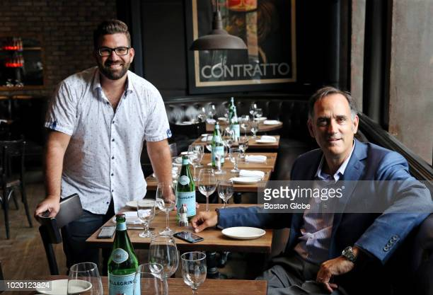 Nick Belsito left CEO of Open City and Jeff Gates owner of Aquitaine Group pose for a portrait at Cinquecento restaurant in Boston on Aug 1 2018 The...