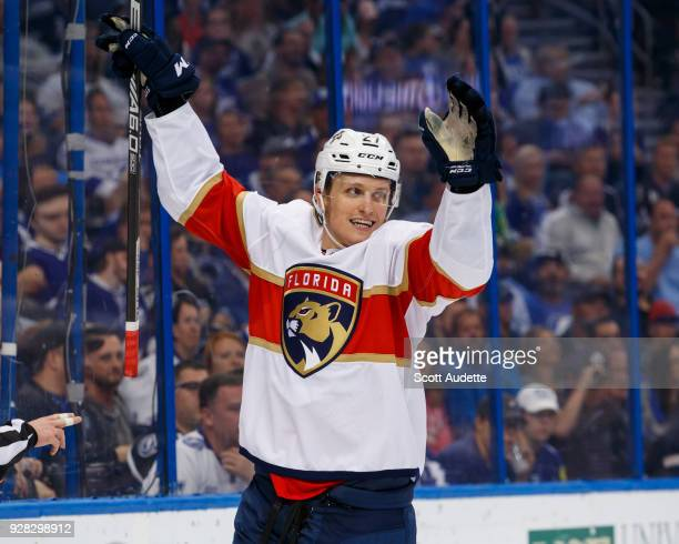 Nick Bjugstad of the Florida Panthers celebrates a goal against the Tampa Bay Lightning during the second period at Amalie Arena on March 6 2018 in...