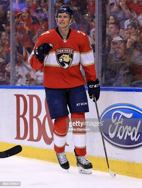 Nick Bjugstad of the Florida Panthers celebrates a goal during a game against the Buffalo Sabres at BBT Center on April 8 2017 in Sunrise Florida