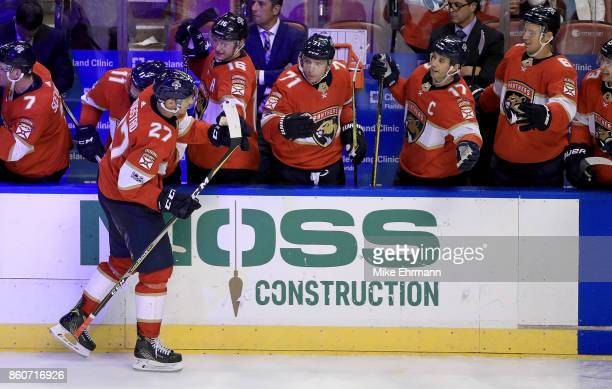 Nick Bjugstad of the Florida Panthers celebrates a goal during a game against the St Louis Blues at BBT Center on October 12 2017 in Sunrise Florida