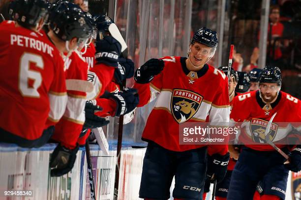 Nick Bjugstad of the Florida Panthers celebrates his goal with teammates during the second period against the Montreal Canadiens at the BBT Center on...